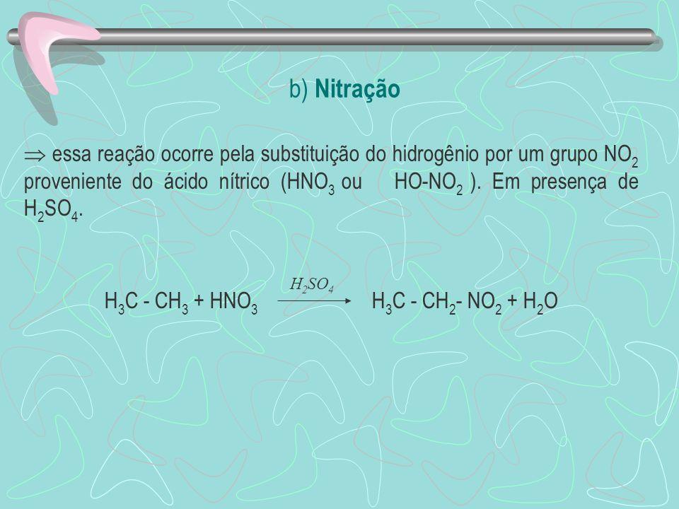 H3C - CH3 + HNO3 H3C - CH2- NO2 + H2O