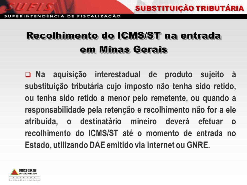 Recolhimento do ICMS/ST na entrada