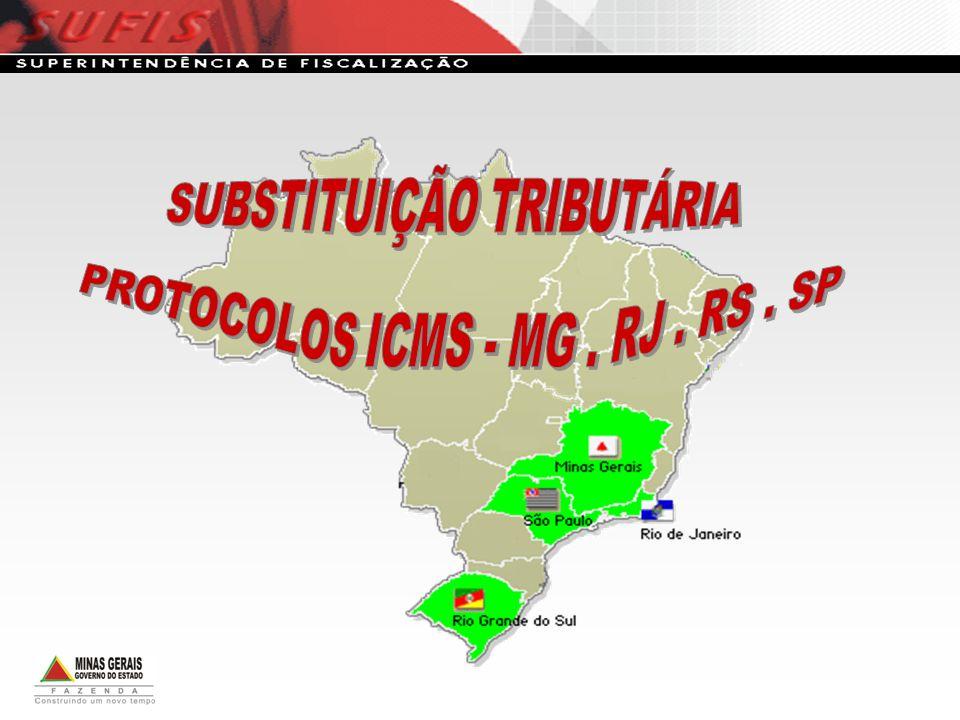 SUBSTITUIÇÃO TRIBUTÁRIA PROTOCOLOS ICMS - MG . RJ . RS . SP