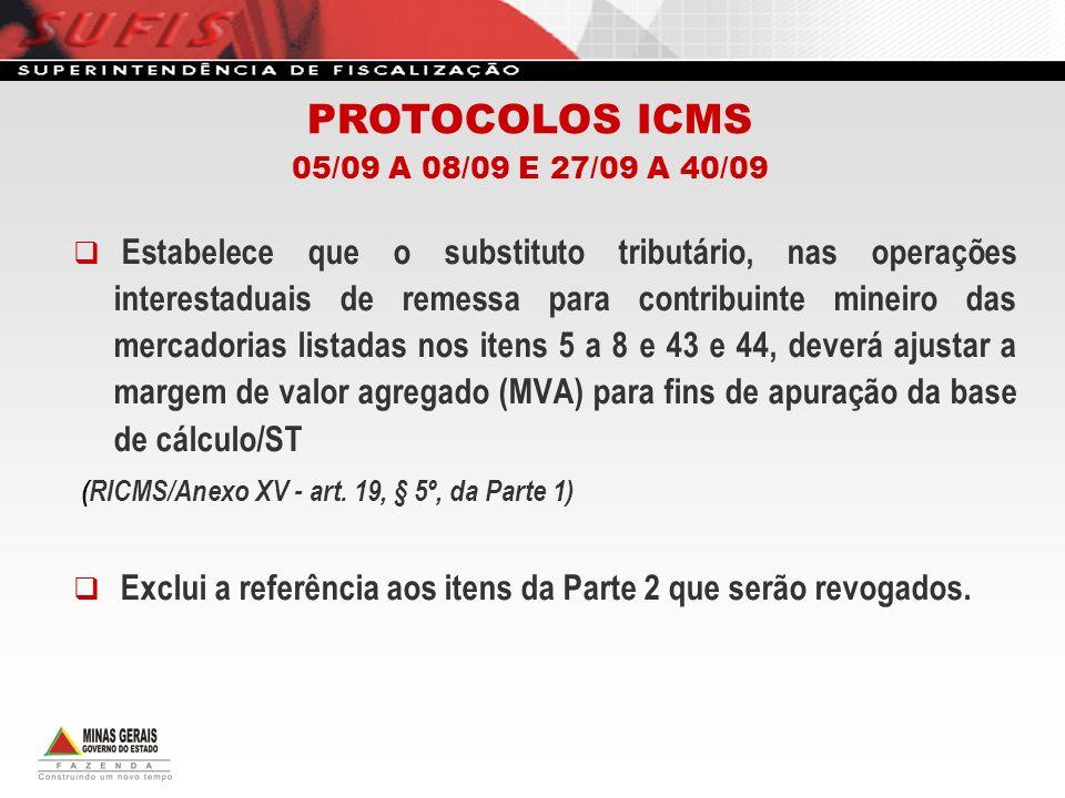 PROTOCOLOS ICMS (RICMS/Anexo XV - art. 19, § 5º, da Parte 1)