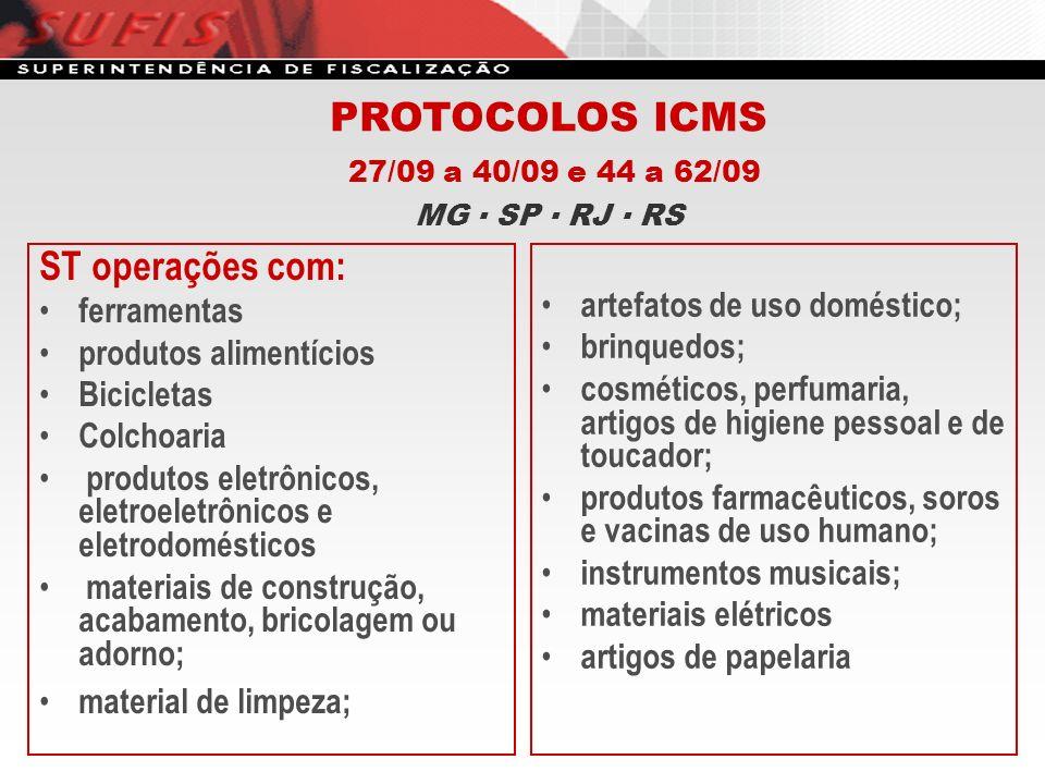 PROTOCOLOS ICMS ST operações com: 27/09 a 40/09 e 44 a 62/09
