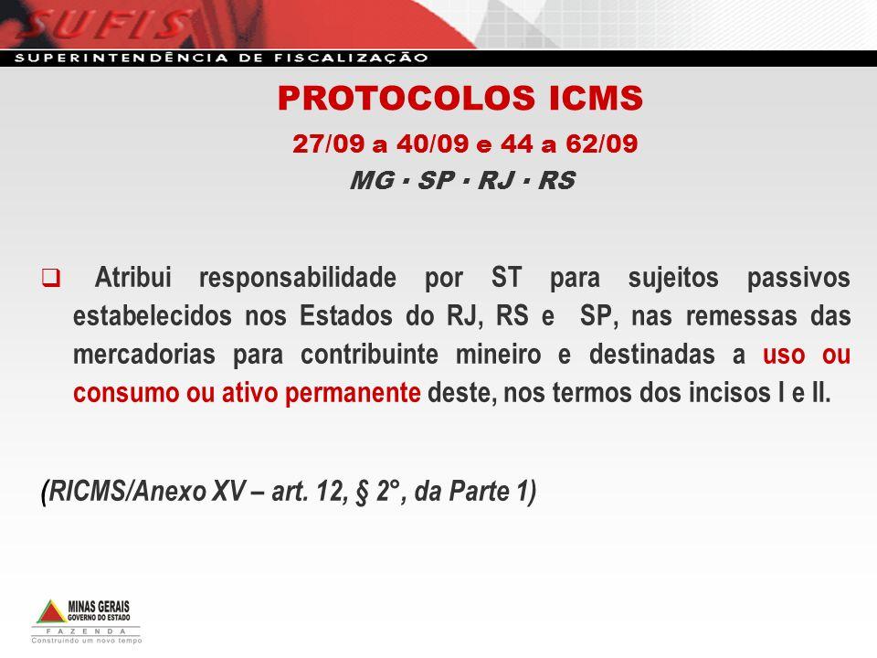 PROTOCOLOS ICMS 27/09 a 40/09 e 44 a 62/09