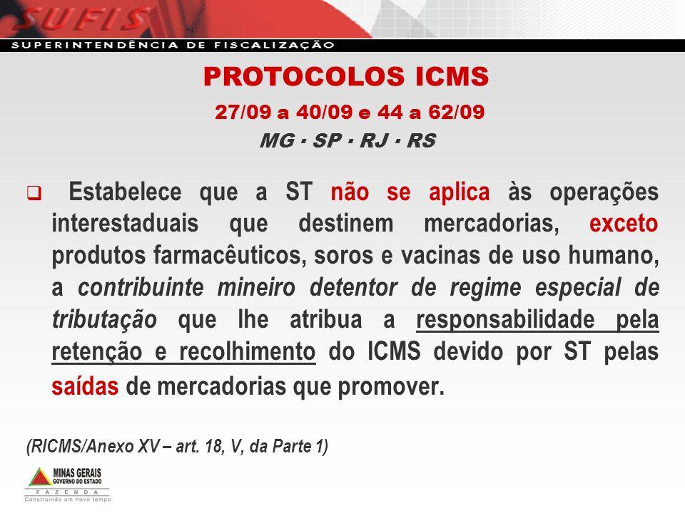 PROTOCOLOS ICMS 27/09 a 40/09 e 44 a 62/09 MG ▪ SP ▪ RJ ▪ RS