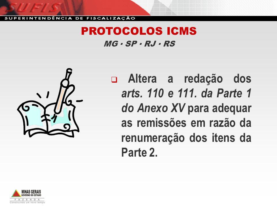PROTOCOLOS ICMS MG ▪ SP ▪ RJ ▪ RS