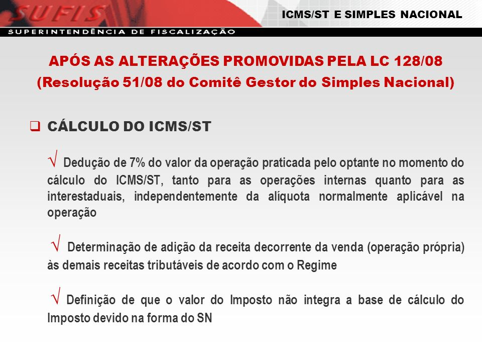 ICMS/ST E SIMPLES NACIONAL