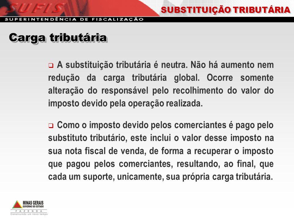 Carga tributária SUBSTITUIÇÃO TRIBUTÁRIA