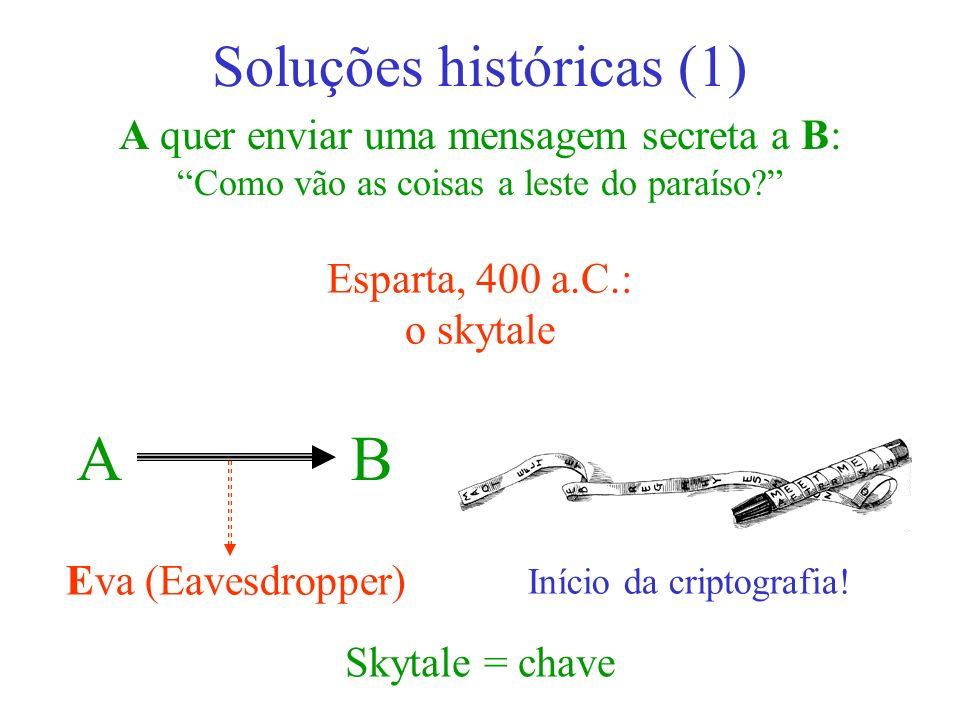 A B Soluções históricas (1) A quer enviar uma mensagem secreta a B: