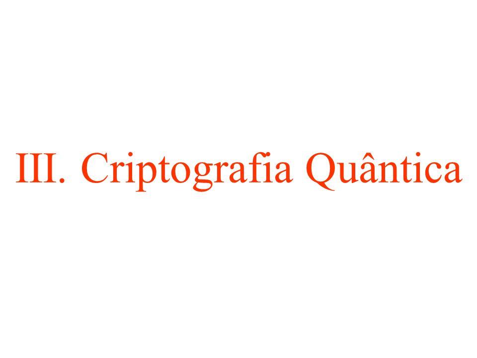 III. Criptografia Quântica