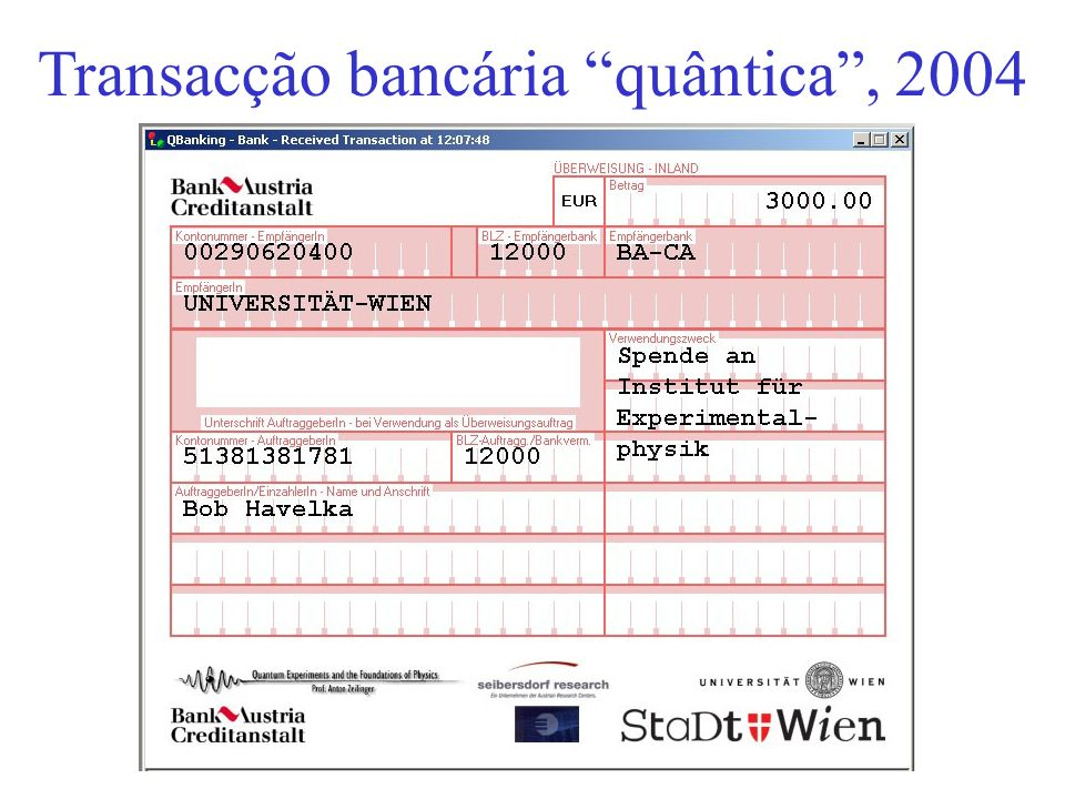 Transacção bancária quântica , 2004