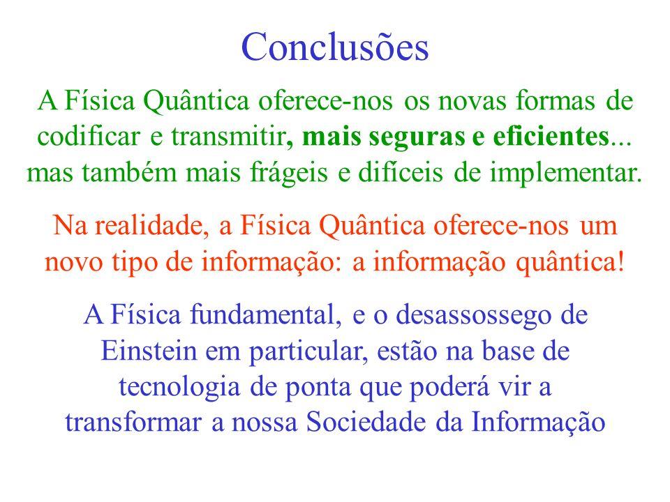 Conclusões A Física Quântica oferece-nos os novas formas de codificar e transmitir, mais seguras e eficientes...