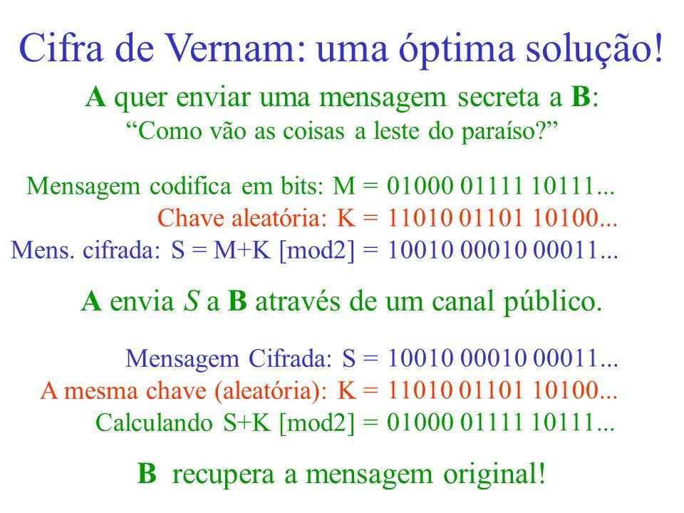 Cifra de Vernam: uma óptima solução!