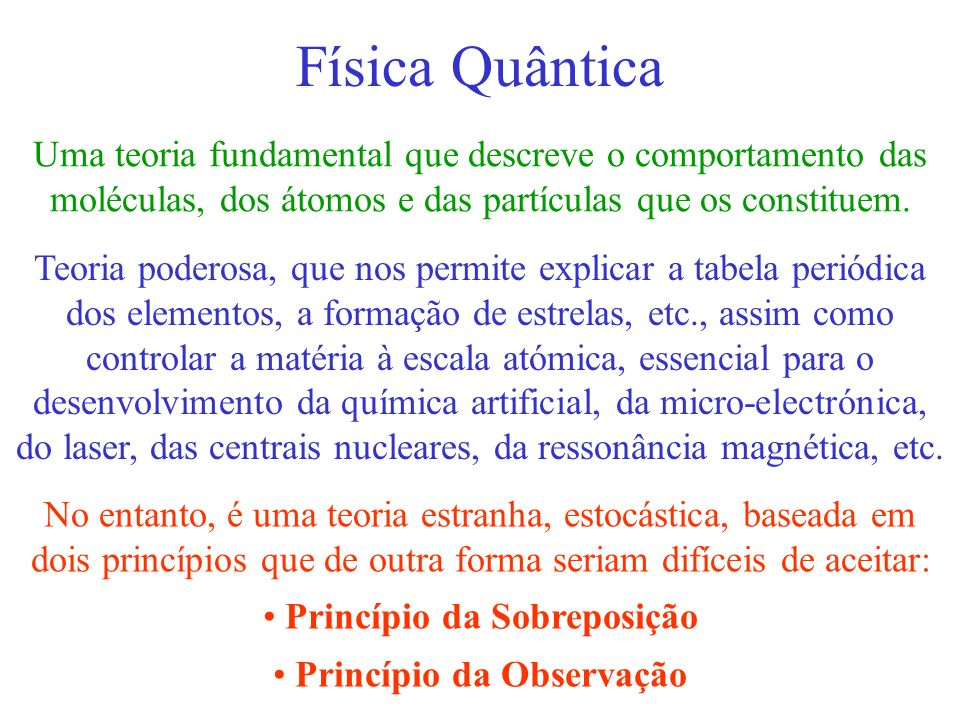 Princípio da Sobreposição Princípio da Observação