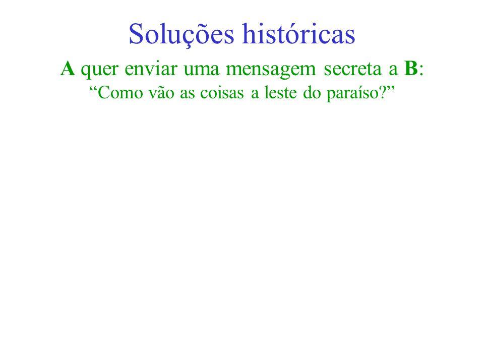 Soluções históricas A quer enviar uma mensagem secreta a B:
