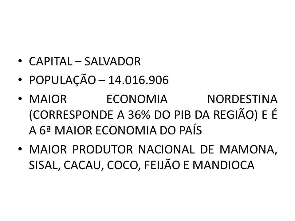 CAPITAL – SALVADOR POPULAÇÃO – 14.016.906. MAIOR ECONOMIA NORDESTINA (CORRESPONDE A 36% DO PIB DA REGIÃO) E É A 6ª MAIOR ECONOMIA DO PAÍS.