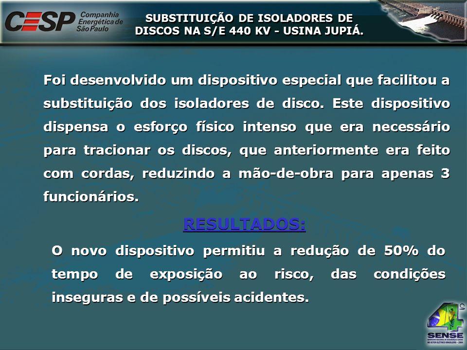 SUBSTITUIÇÃO DE ISOLADORES DE DISCOS NA S/E 440 KV - USINA JUPIÁ.