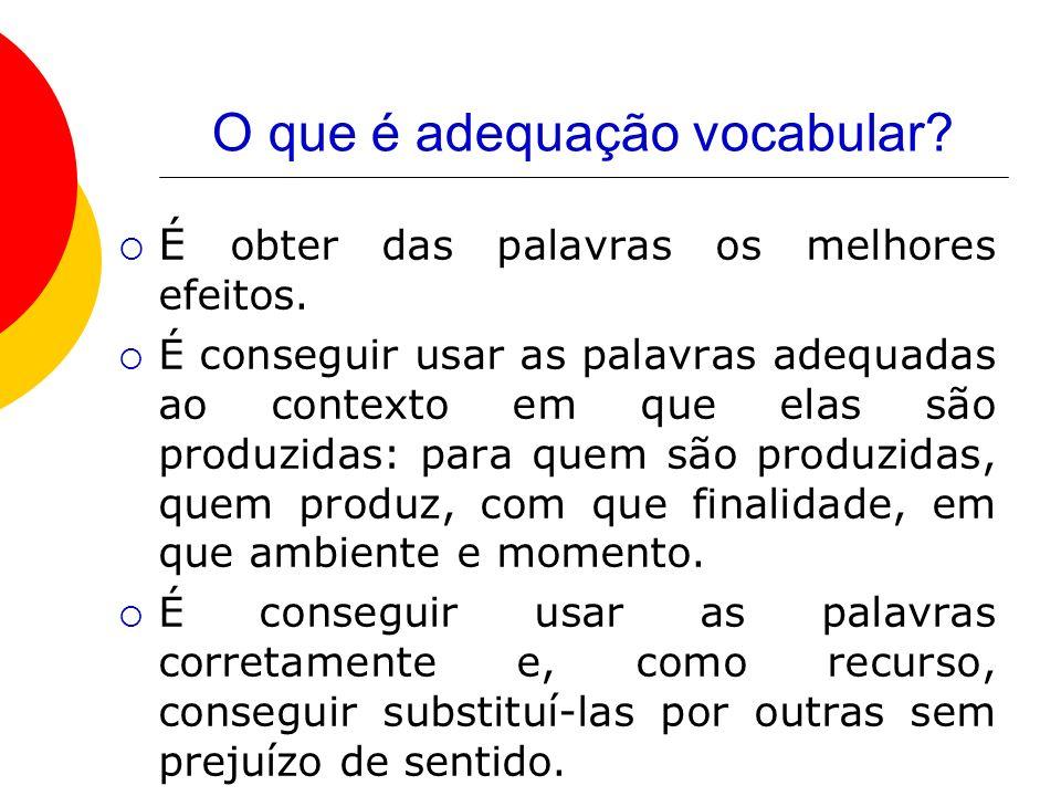 O que é adequação vocabular