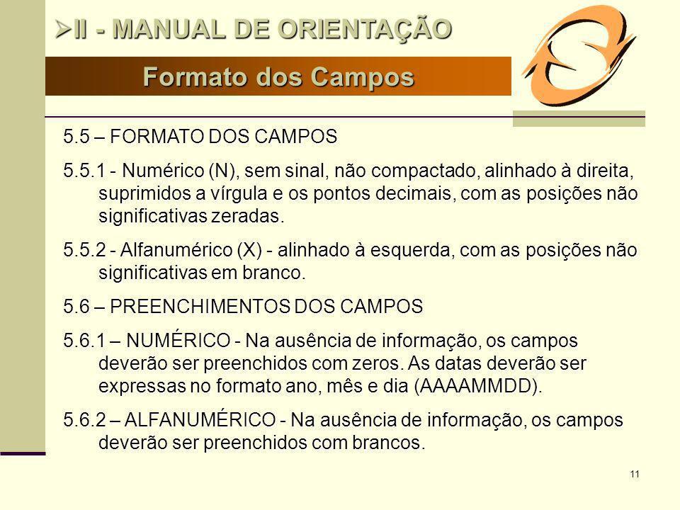 II - MANUAL DE ORIENTAÇÃO