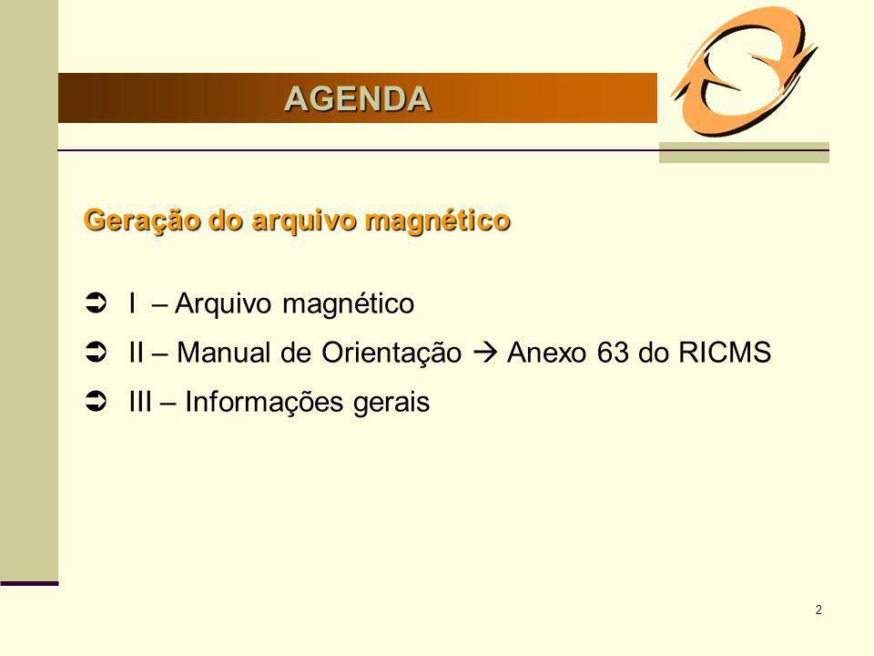 AGENDA Geração do arquivo magnético I – Arquivo magnético