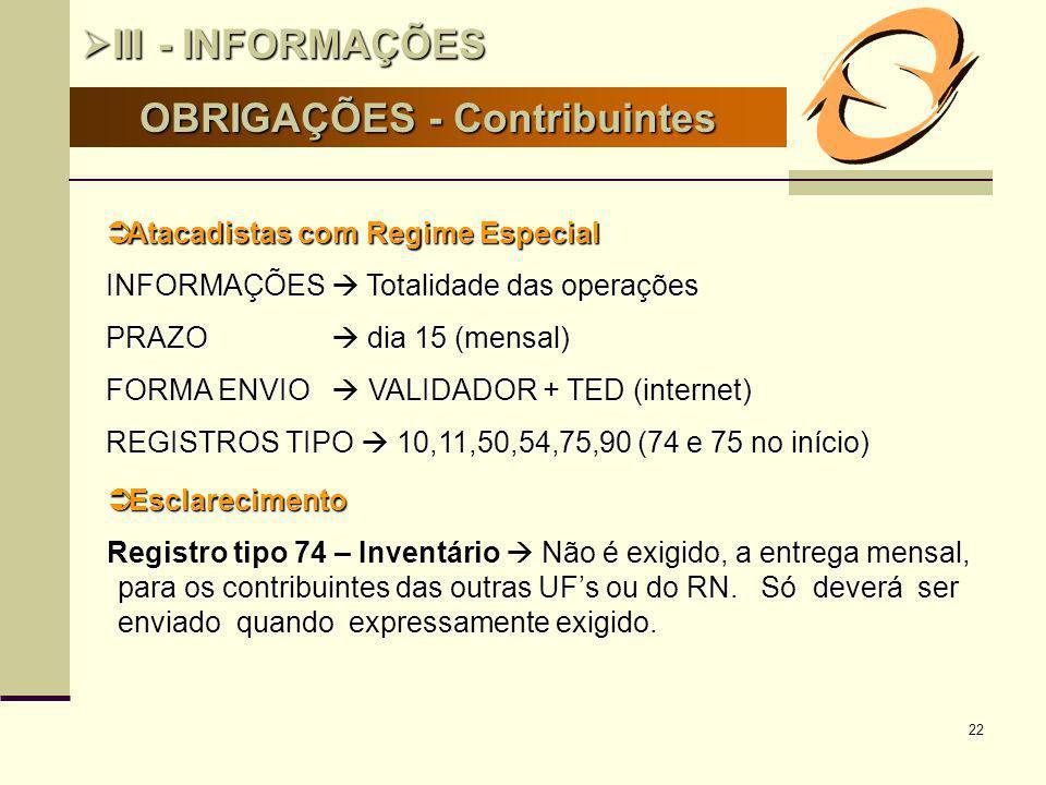 OBRIGAÇÕES - Contribuintes