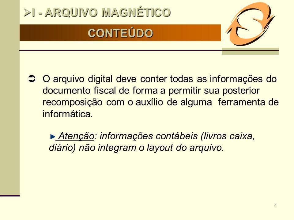 I - ARQUIVO MAGNÉTICO CONTEÚDO