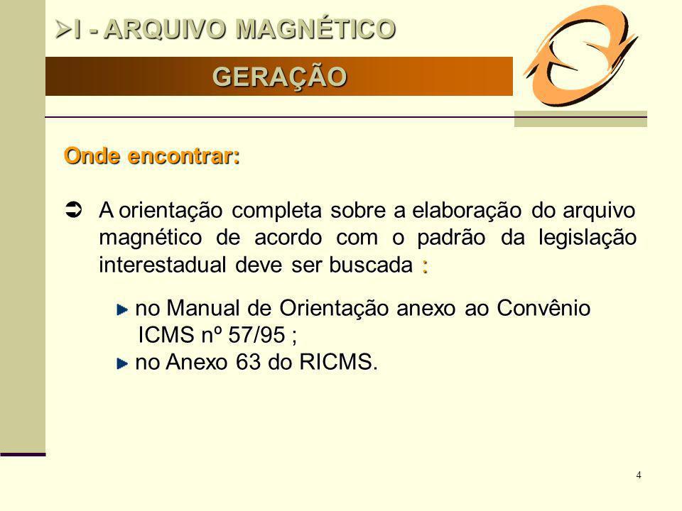 I - ARQUIVO MAGNÉTICO GERAÇÃO Onde encontrar: