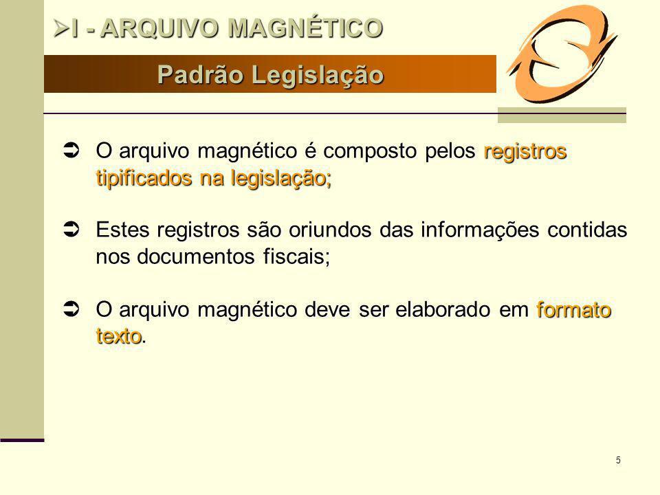 I - ARQUIVO MAGNÉTICO Padrão Legislação