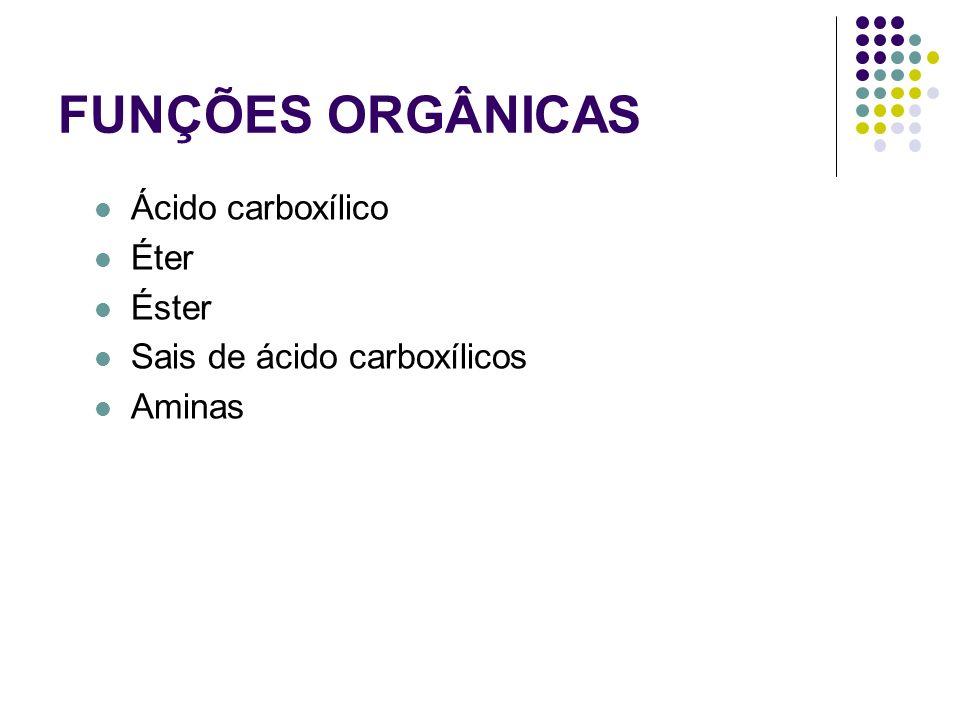 FUNÇÕES ORGÂNICAS Ácido carboxílico Éter Éster