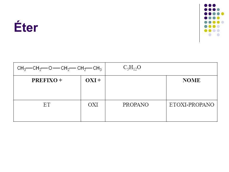 Éter C5H12O PREFIXO + OXI + NOME ET OXI PROPANO ETOXI-PROPANO