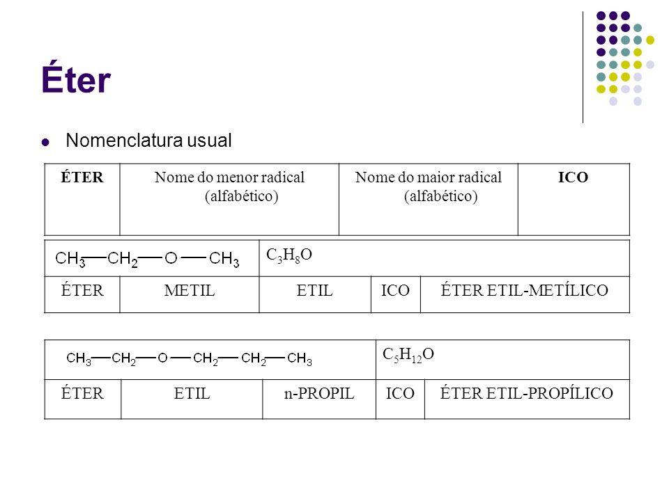Éter Nomenclatura usual C3H8O ÉTER METIL ETIL ICO ÉTER ETIL-METÍLICO