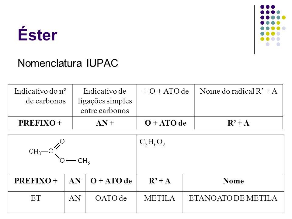 Éster Nomenclatura IUPAC Indicativo do nº de carbonos