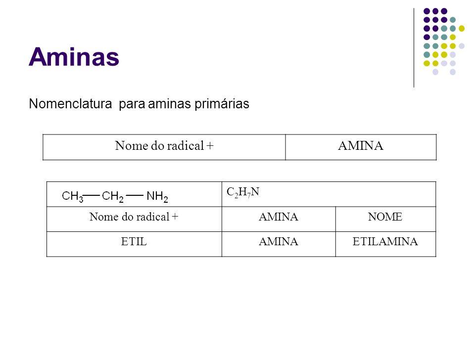 Aminas Nomenclatura para aminas primárias Nome do radical + AMINA
