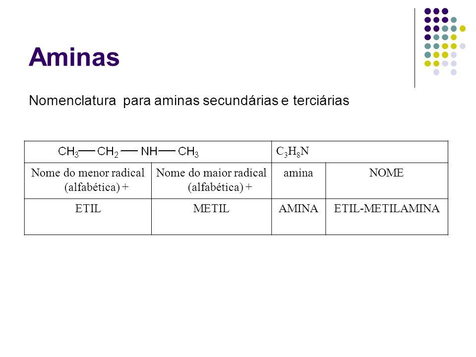 Aminas Nomenclatura para aminas secundárias e terciárias C3H8N