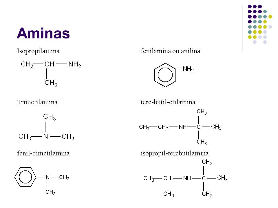 Aminas Isopropilamina fenilamina ou anilina Trimetilamina