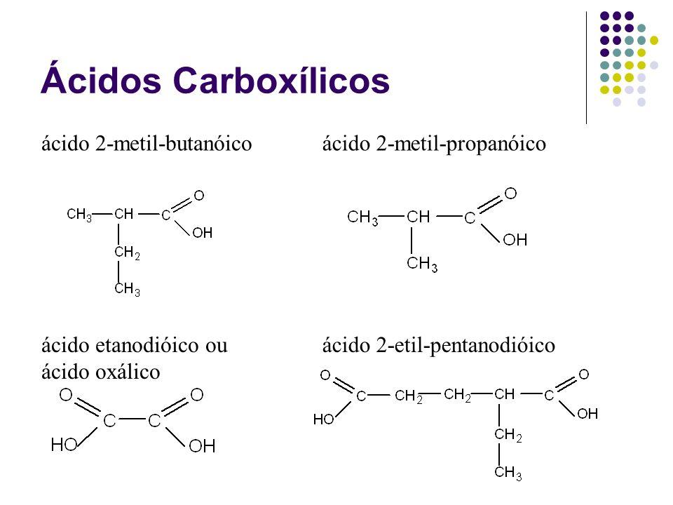 Ácidos Carboxílicos ácido 2-metil-butanóico ácido 2-metil-propanóico