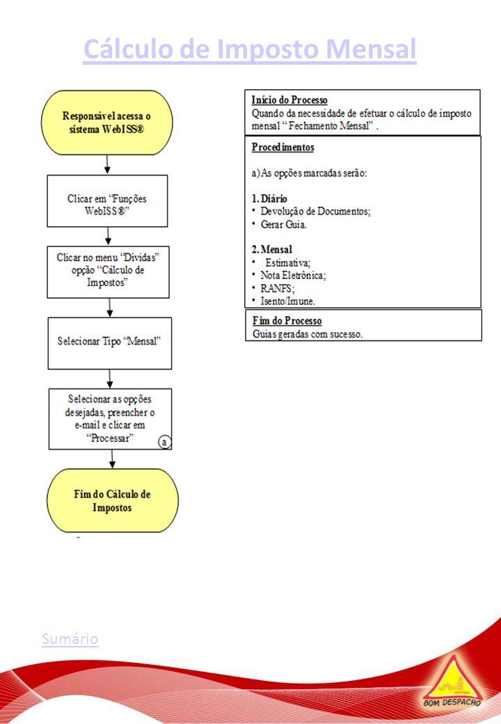 Cálculo de Imposto Mensal