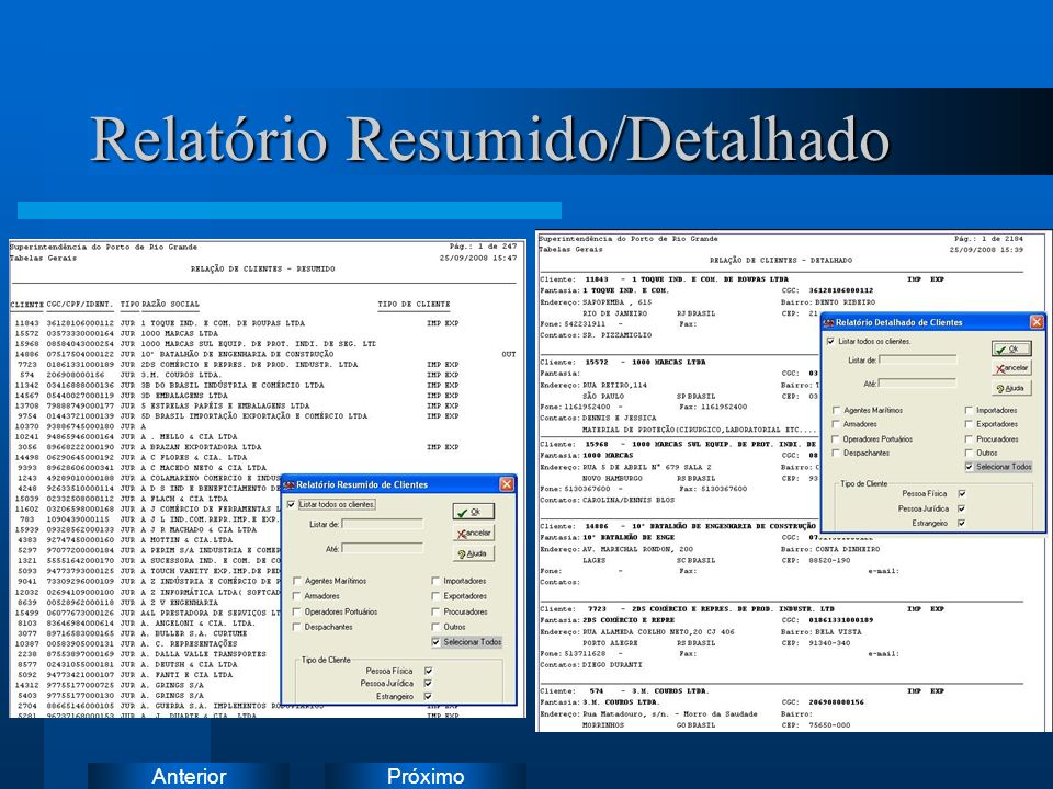 Relatório Resumido/Detalhado