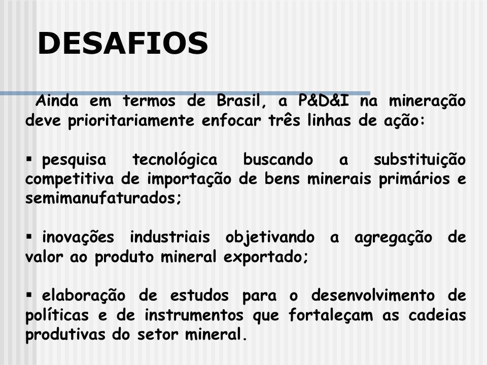 DESAFIOS Ainda em termos de Brasil, a P&D&I na mineração deve prioritariamente enfocar três linhas de ação: