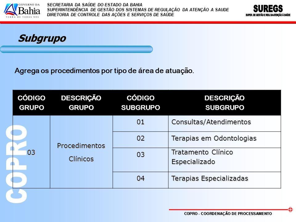 Subgrupo Agrega os procedimentos por tipo de área de atuação. CÓDIGO