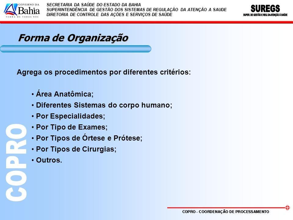 Forma de Organização Agrega os procedimentos por diferentes critérios:
