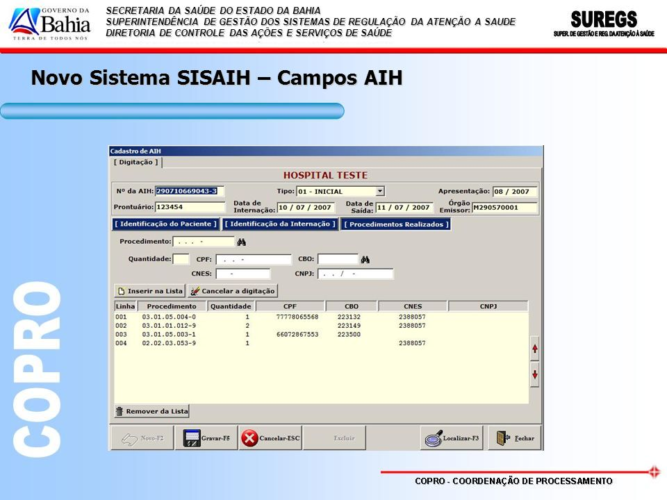 Novo Sistema SISAIH – Campos AIH