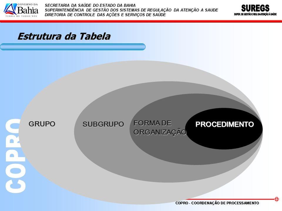 Estrutura da Tabela GRUPO SUBGRUPO FORMA DE ORGANIZAÇÃO PROCEDIMENTO