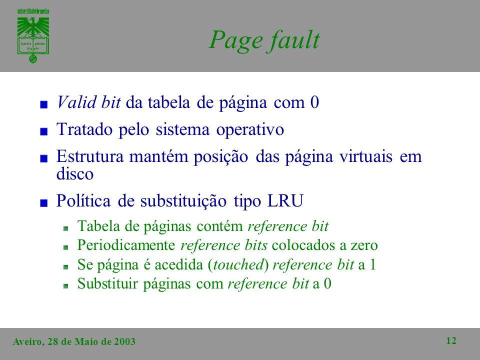 Page fault Valid bit da tabela de página com 0