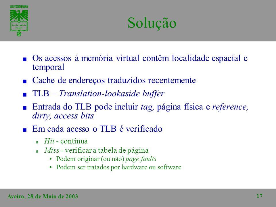 Solução Os acessos à memória virtual contêm localidade espacial e temporal. Cache de endereços traduzidos recentemente.