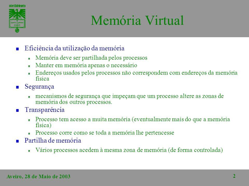 Memória Virtual Eficiência da utilização da memória Segurança
