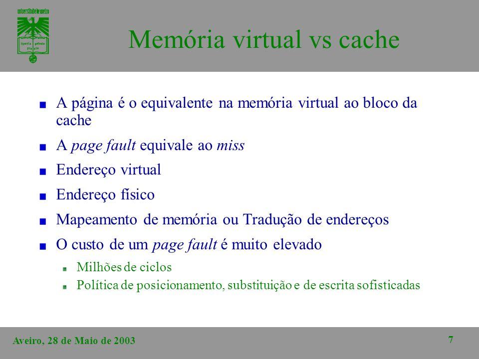 Memória virtual vs cache