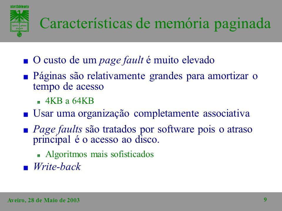 Características de memória paginada