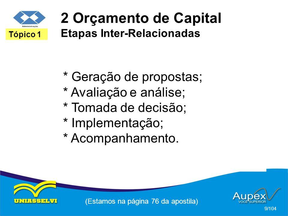 2 Orçamento de Capital Etapas Inter-Relacionadas