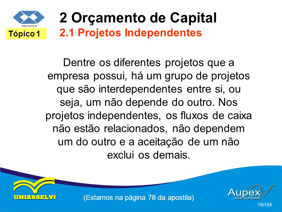 2 Orçamento de Capital 2.1 Projetos Independentes