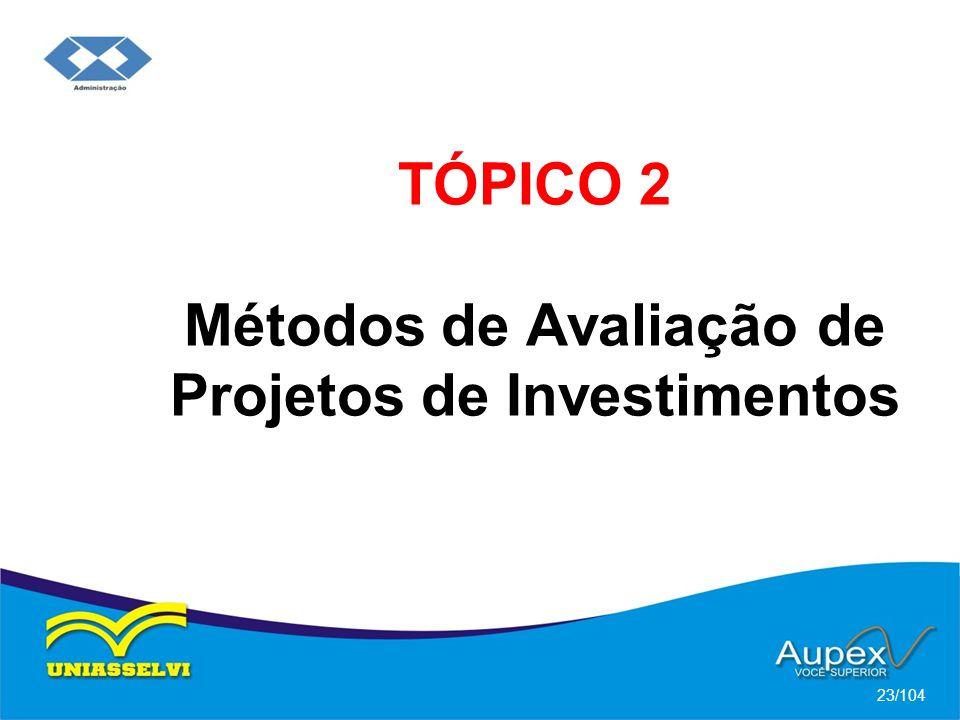 TÓPICO 2 Métodos de Avaliação de Projetos de Investimentos