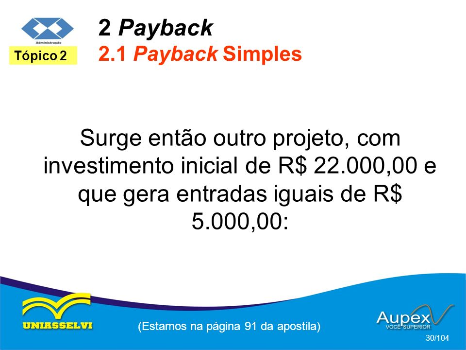 2 Payback 2.1 Payback Simples